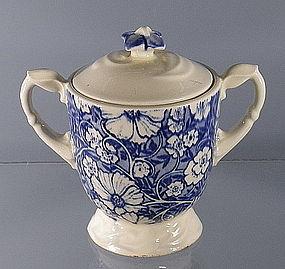 Vernon Kilns Blue Blossom Time Sugar Bowl with Lid