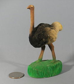Antique Celluloid Fuzzy Animal Ostrich Zoo Figurine