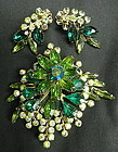 Vintage Green Rhinestone Brooch Pin and Clip Earrings
