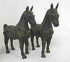 Pair of Antique Bronze Horses, Mare and Stallion