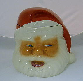 Vintage Metlox Santa Head Pottery Cookie Jar