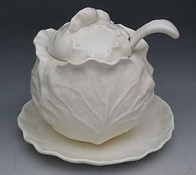 Metlox White Cabbage Line Soup Tureen Poppytrail