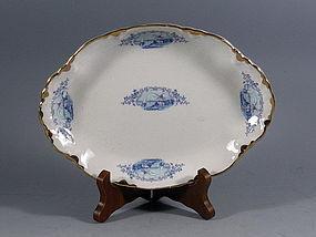 Antique Poxon Vernon California Blue White Dish Bowl