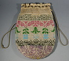 American Pennsylvania Dutch Beaded Crochet Purse