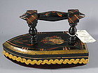 Victorian Folk Art Painted Wood Pin Cushion Iron