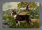 Boston Terrier Dog Miniature Oil Painting American