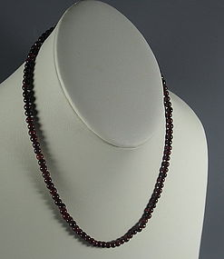 Red Garnet Beaded Strand Choker Necklace