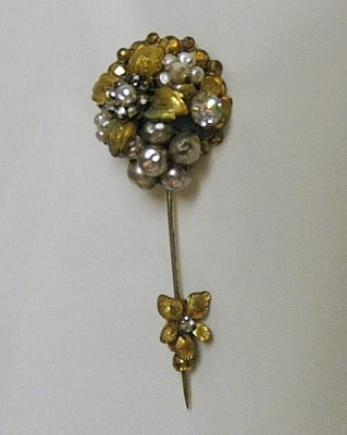 Miriam Haskill Floral Stick Pin Pearls Rhinestones