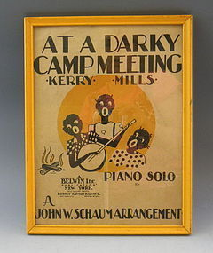 Black American Sheet Music At A Darky Camp Meeting