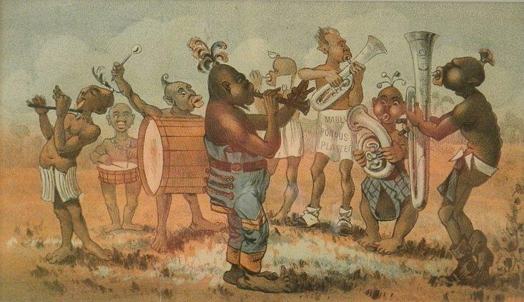 Rare Antique Negro Humor Print Band Playing Music