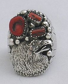 Robert Becenti Sterling Eagle Head Coral Navajo Ring