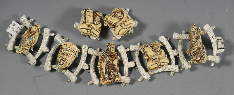 Asian Chunky Bracelet with Chinese Figures and Earrings