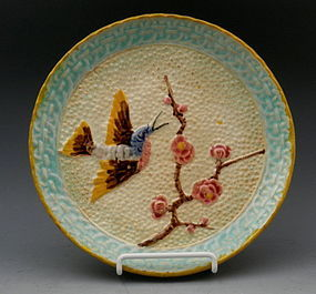 Antique American Majolica Plate with Bird, 19th C