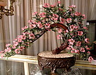 Huge Chinese Glass Jade Bonsai Tree with Cherry Blossoms