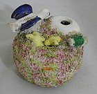 Staffordshire Quill Pen Holder Inkwell Bird Hatchlings Nest Snake