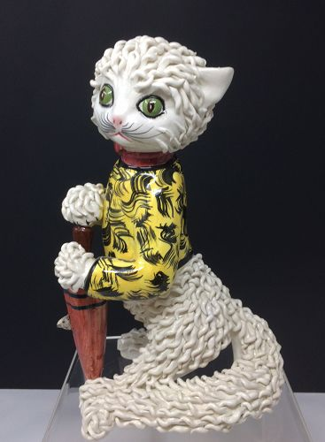 Italian Spaghetti Cat with Umbrella Statue or Figurine