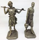 Pair of Antique Victorian Blackamoor Metal Statues by Ansonia