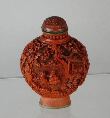Old Chinese Cinnabar Red Lacquer Snuff Bottle over Bronze