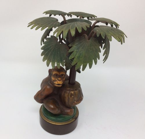 1970's French Tole Monkey Holding Potted Palm Metal Candlestick Holder