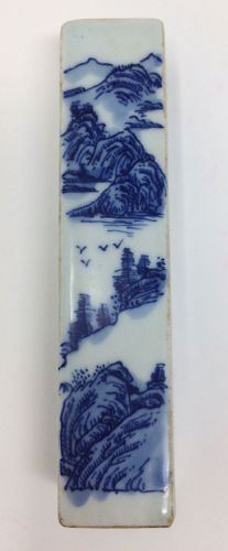Blue White Porcelain Chinese Desk Seal Chop Wrist Rest Calligraphy