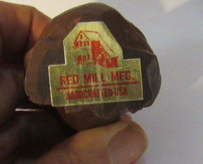 Boy with Frog  Red Mill Pressed Pecan Carved Figurine