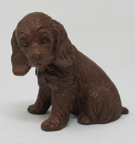 Golden Retreiver Spaniel Dog Red Mill Pressed Pecan Carved Figurine