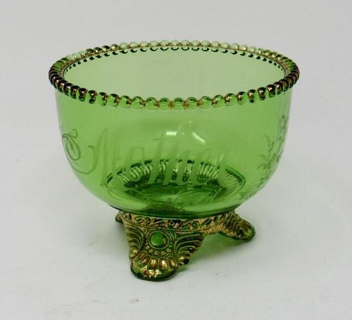 Antique Green Glass Bowl Etched Mother 1906 with Gold Gilt