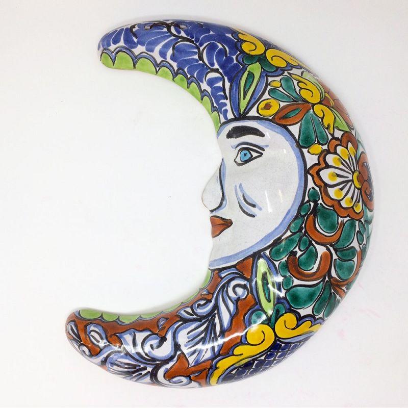 T. Castillo Mexican Talavera Pottery Man in Moon Wall Art