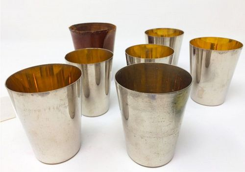Old Stacking Nesting Metal Travel Cups in Leather Case