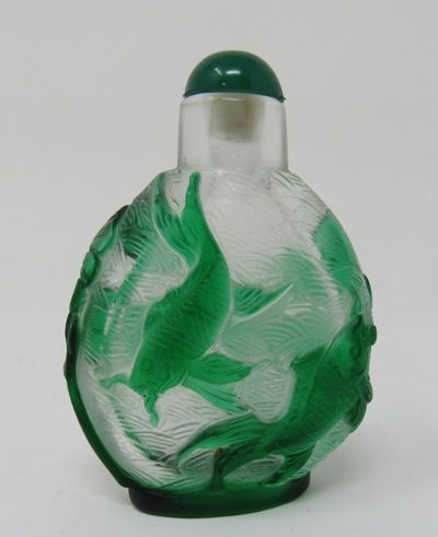 Chinese Peking Glass Snuff Bottle with Green Fish Coy
