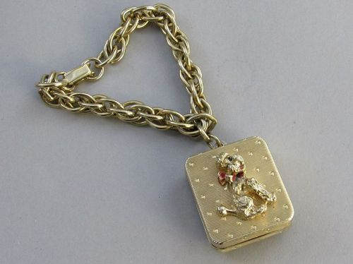 Vintage Swiss Gold Tone Poodle Music Box Musical Bracelet