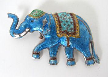 Sterling Silver Blue Gullioche Enamel Cloisonne Elephant Siam Pin