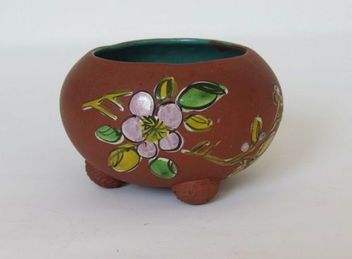 Chinese Enamel Pottery Yixing Brush Washer Footed Bowl