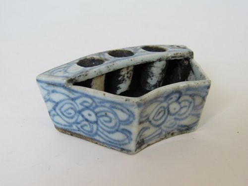 Chinese Blue and White Porcelain Ink Receptacle Brush Washer