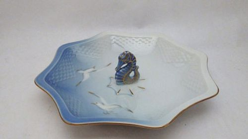 Bing & Grondahl Seagull China Bon Bon Dish with Seahorse Finial