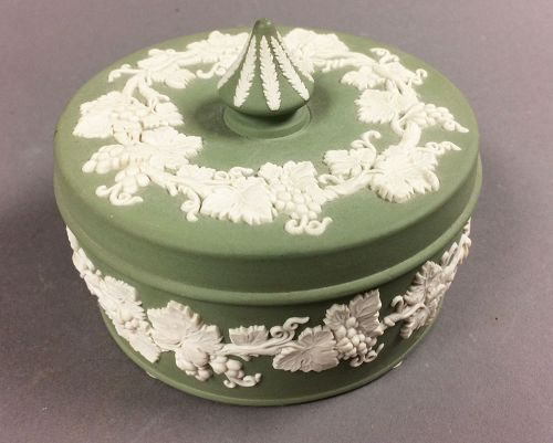 Wedgwood Sage Green Jasperware Dresser Box with Finial Lid