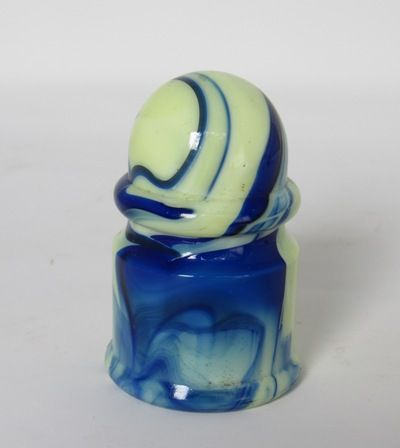 1930's HouzeX Blue Swirl Agate Slag Glass Car Ashtray