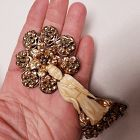 Hobe Asian Chinese Goddess Ivory Brooch Pin Sterling Gold Vermeil