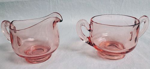 Pink Glass Sugar and Creamer
