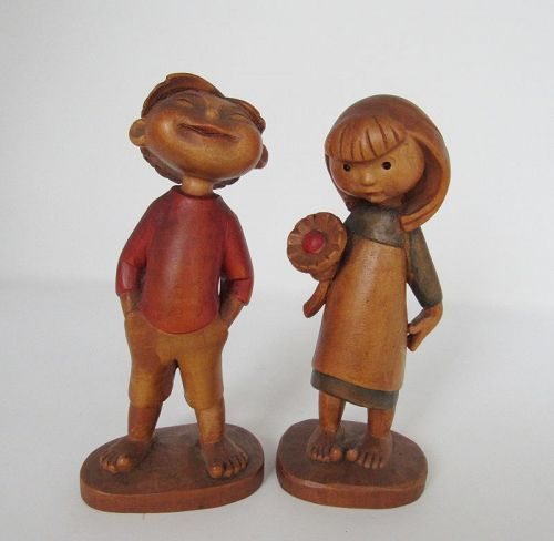 Vintage Hand Carved Wood Anri Boy and Girl with Flower, Children