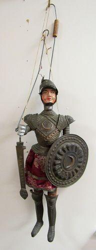 Antique Italian Sicilian Marionette Knight in Armor Puppet