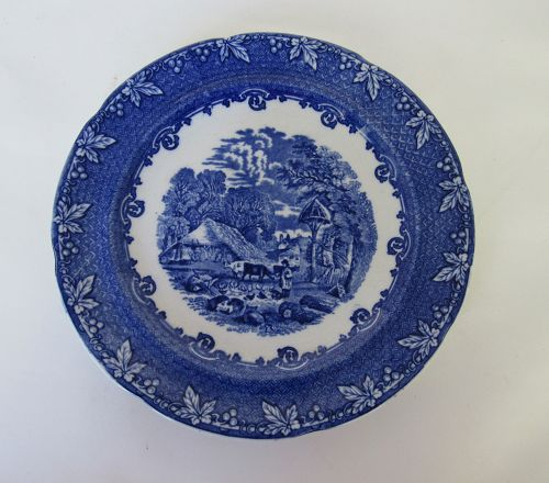 George Jones & Sons Farm Design Blue Transferware Plate