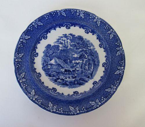 George Jones & Sons Farm Design Blue Transferware Plate