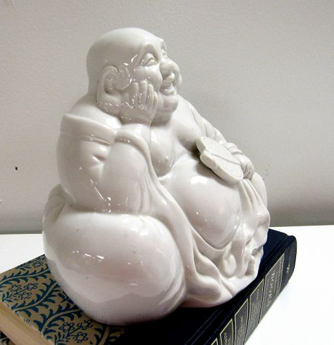Vintage Chinese Blanc De Chine Porcelain Happy Buddha Figurine