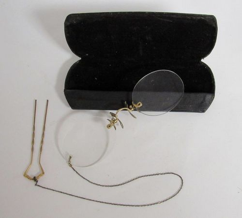 Ladies Gold Eyeglasses with Attached Hairpin Chain and Case