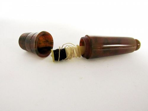 Vintage Slag Glass Bakelite Sewing Case Etui with Thimble