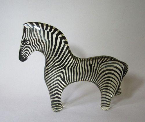 Large Mid Century Lucite Zebra Figurine by Abraham Palatnik