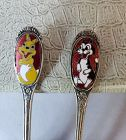 Bunny Rabbit and Cat Enamel Silver Child's Fork Spoon Set