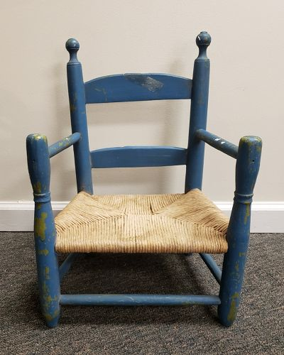 Antique Child's Rush and Painted Wood Rustic Farm Chair
