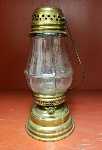 Antique Brass Ice Skater Gas Lantern Lamp Original glass